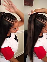 economico -Capello integro Lace frontale Parrucca Brasiliano Liscio Parrucca 130% Con i capelli del bambino / nuovo / Attaccatura dei capelli naturale Naturale Per donna Corto Parrucche di capelli umani con