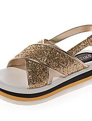 baratos -Mulheres Sapatos Couro Ecológico Primavera / Verão Chanel Sandálias Creepers Lantejoulas Dourado / Preto / Prateado