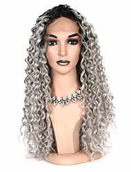 billige -Syntetisk Lace Front Parykker Krøllet Nuance Bob frisure / Pixie frisure Syntetisk hår Fest / syntetisk / Ombre-hår Grå / Nuance Paryk Dame Lang Blonde Front / Afro-amerikansk paryk / Ja