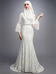 cheap -Mermaid / Trumpet V Neck Sweep / Brush Train Lace Made-To-Measure Wedding Dresses with by LAN TING BRIDE®
