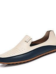 baratos -Homens Sapatos de Condução Couro Ecológico Verão Conforto Mocassins e Slip-Ons Bege / Azul