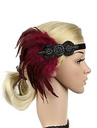 abordables -Gatsby le magnifique Rétro Années 20 Costume Femme Bandeau Garçonne Coiffure Noir / Gris / Rouge Vintage Cosplay Plume Sans Manches Déguisement d'Halloween