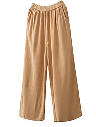 cheap -Women's Cotton Loose Wide Leg Pants - Solid Colored