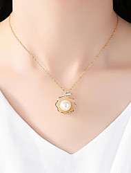 cheap -Women's Cubic Zirconia Pendant Necklace  -  Sterling Silver, 18K Gold, Freshwater Pearl Flower Simple, Natural, Elegant Gold 45 cm Necklace 1pc For Party, Gift