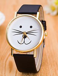 baratos -Mulheres Relógio de Pulso Quartzo Adorável Couro Banda Analógico Casual Fashion Preta / Branco - Branco Preto Leopardo