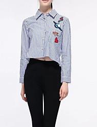 abordables -Mujer Básico Retazos / Bordado / Estampado - Algodón Camisa, Cuello Camisero A Rayas / Floral Azul y Blanco