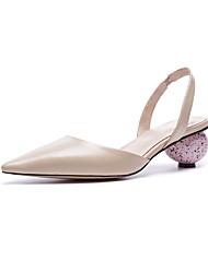 お買い得  -女性用 靴 レザー 夏 コンフォートシューズ ヒール 異形ヒール ブラック / アーモンド