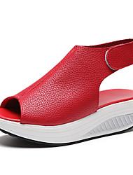 Недорогие -Жен. Обувь для новинок Полиуретан Лето Удобная обувь / Оригинальная обувь Сандалии Для прогулок Платформа Открытый мыс Бежевый / Красный / Темно-коричневый