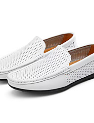 cheap -Men's Shoes Cowhide Summer Moccasin Loafers & Slip-Ons White / Black / Brown