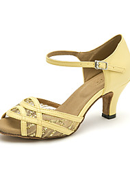 cheap -Women's Latin Shoes PU(Polyurethane) Sandal Sequin Cuban Heel Dance Shoes Beige / Yellow