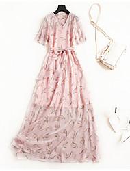 abordables -Mujer Básico / Tejido Oriental Camiseta / Corte Swing Vestido - Estampado, Geométrico Maxi