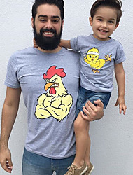 abordables -Adultes Papa et moi Basique Quotidien Animal Manches Courtes Polyester Tee-shirts Gris