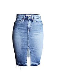 Недорогие -женские верхние юбки для карандашей с коленом - сплошной цвет