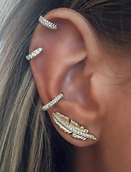 abordables -Femme Boucles d'oreille goujon / Clips - Forme de Feuille Rétro, Mode Argent Pour Vacances / Bar