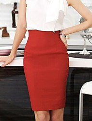 cheap -Women's Street chic / Sophisticated Bodycon Skirts - Solid Colored