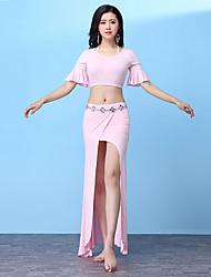economico -Danza del ventre Completi Per donna Addestramento Modal Con balze strutturate / Con spacco Manica corta Cadente Gonne / Top