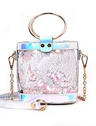 baratos -Mulheres Bolsas PU Conjuntos de saco 2 Pcs Purse Set Lantejoulas / Ziper Branco / Rosa