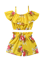 cheap -Kids Girls' Sun Flower Print Sleeveless Clothing Set