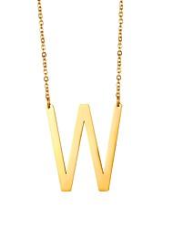 Недорогие -Муж. имя Ожерелья с подвесками Нержавеющая сталь Алфавит Мода Золотой Черный Серебряный 51 cm Ожерелье Бижутерия 1шт Назначение Подарок Повседневные