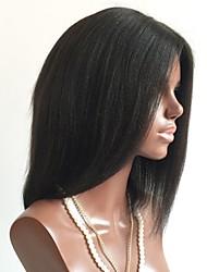 economico -Capello integro Lace integrale Parrucca Brasiliano Liscio Taglio medio corto / Breve Bob 130% Densità Con i capelli del bambino / Per donne di colore Nero Corto Parrucche di capelli umani con retina