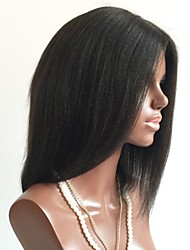 baratos -Cabelo Remy Frente de Malha Peruca Cabelo Brasileiro Liso Peruca Corte Bob / Bob curto 130% Com Baby Hair / Para Mulheres Negras Preta Curto Perucas de Cabelo Natural