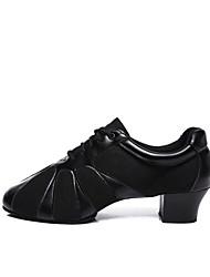 baratos -Mulheres Sapatos de Jazz Couro Sintético / Sintéticos Salto Recortes Salto Grosso Personalizável Sapatos de Dança Preto / Preto / Vermelho