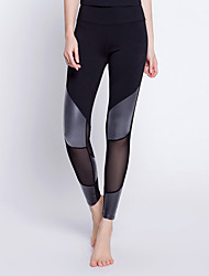 cheap -Women's Yoga Pants / Mesh Leggings - Black / Silver, Dark Navy Sports Spandex Tights Running, Fitness, Gym Activewear Quick Dry, Anatomic Design, Breathable Stretchy
