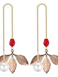 Недорогие -Жен. Длиные Серьги-слезки Искусственный жемчуг Серьги В форме листа Дамы Мода Бижутерия Черный / Красный / Зеленый Назначение На выход День рождения 1 пара