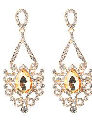 abordables -Mujer Cristal Largo Pendientes colgantes - Brillante Vintage, Étnico, Moda Dorado / Plata Para Fiesta / Noche / Fiesta de Noche