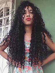 Недорогие -Синтетические кружевные передние парики Кудрявый Средняя часть Искусственные волосы С детскими волосами / Мягкость / Жаропрочная Черный / Темно-коричневый Парик Жен. Длинные Лента спереди