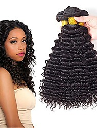 cheap -Mongolian Hair Curly One Pack Solution 3 Bundles 8-28 inch Human Hair Weaves Machine Made Valentine / Best Quality / Hot Sale Natural Black Human Hair Extensions Women's