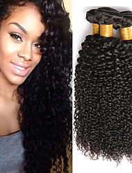 cheap -4 Bundles Malaysian Hair Kinky Curly Human Hair Natural Color Hair Weaves / Hair Bulk / Extension / Human Hair Extensions 8-28 inch Black Natural Color Human Hair Weaves Machine Made Classic / Women