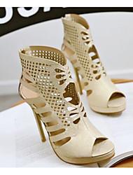 Недорогие -Жен. Обувь Полиуретан Лето Удобная обувь Сандалии На шпильке Золотой / Белый / Черный