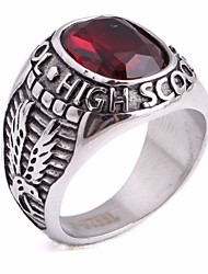 cheap -Men's Synthetic Ruby Vintage Style / Solitaire Statement Ring - Stainless Eagle, Letter Unique Design, Vintage, European 8 / 9 / 10 Silver For Gift / Street
