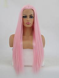 Недорогие -Синтетические кружевные передние парики Прямой Розовый Средняя часть Искусственные волосы Жаропрочная Розовый Парик Жен. Длинные Лента спереди Розовый / Да
