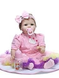 Недорогие -NPKCOLLECTION Куклы реборн Девочки 24 дюймовый как живой Искусственные имплантации Голубые глаза Детские Девочки Игрушки Подарок