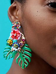 cheap -Women's Drop Earrings - Floral / Botanicals, Leaf, Flower European, Fashion Red / Green / Light Pink For Daily / Office & Career