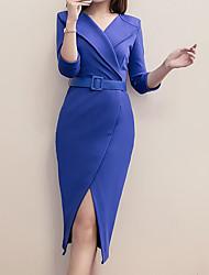 abordables -Mujer Chic de Calle / Sofisticado Corte Bodycon / Vaina Vestido - Separado, Un Color Hasta la Rodilla