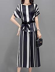baratos -Mulheres Moda de Rua / Sofisticado Conjunto - Laço, Listrado Calça