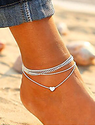 cheap -Layered Ankle Bracelet - Heart Korean, Fashion Silver For Daily / Going out / Women's