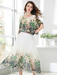 abordables -Mujer Boho / Elegante Gasa Vestido - Estampado, Floral Maxi