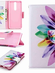 Недорогие -Кейс для Назначение Nokia Nokia 5.1 / Nokia 3.1 Кошелек / Бумажник для карт / со стендом Чехол Цветы Твердый Кожа PU для Nokia 8 / Nokia 6 / Nokia 6 2018