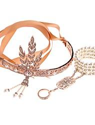 abordables -Gatsby le magnifique Décoration artistique / Rétro / Rétro / Années 20 Costume Femme Bandeau Garçonne Coiffure Bracelet Esclave Blanc / Noir / Doré Vintage Cosplay Imitation de perle / Strass