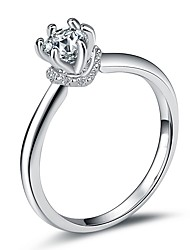 cheap -Women's Stylish Ring Promise Ring - Platinum Plated, Imitation Diamond Joy, Elf Simple, Romantic, Sweet 5 / 6 / 7 / 8 / 9 Silver For Engagement Date