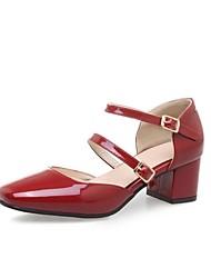 abordables -Femme Chaussures Polyuréthane Printemps été Bride de Cheville Chaussures à Talons Talon Bottier Bout carré Beige / Rouge / Amande / Soirée & Evénement