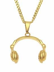 baratos -Homens Fashion Link cubano Colares com Pendentes / Colares em Corrente - Inoxidável Mini, Criativo Original, Europeu, Hip-Hop Legal Dourado 60 cm Colar Jóias 1pç Para Presente, Rua