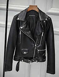 Недорогие -Жен. Кожаные куртки Уличный стиль / Панк & Готика - Однотонный