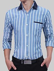 cheap -Men's Active / Basic Shirt - Striped / Color Block Patchwork / Print