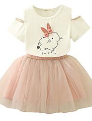 abordables -Niños / Bebé Chica Rabbit Floral Manga Corta Vestido