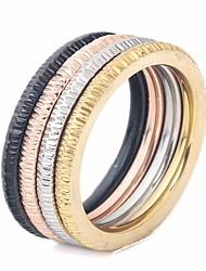Недорогие -Для пары Стильные стек Ring Set Кольцо на несколько пальцев - Титановая сталь Креатив Стиль, Простой, Уникальный дизайн 6 / 7 / 8 / 9 / 10 Цвет радуги Назначение Для улицы Для клуба